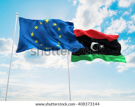 3D illustration of Europe Union & Libya Flags are waving in the sky - stock photo