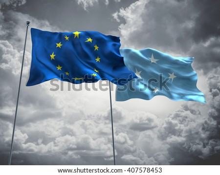 3D illustration of Europe Union & Micronesia Flags are waving in the sky with dark clouds