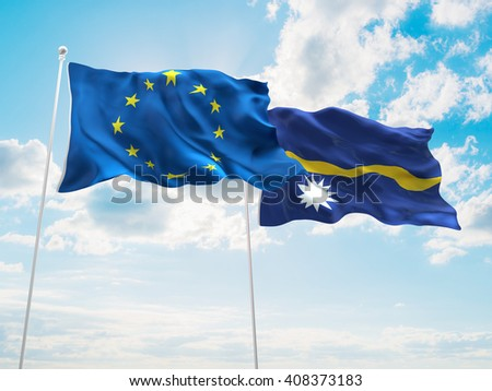3D illustration of Europe Union & Nauru Flags are waving in the sky