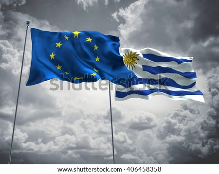 3D illustration of Europe Union & Uruguay Flags are waving in the sky with dark clouds