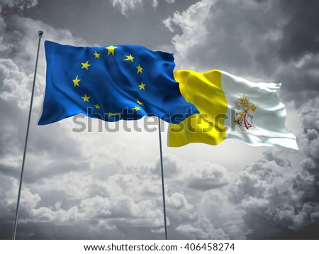 3D illustration of Europe Union & Vatican Flags are waving in the sky with dark clouds