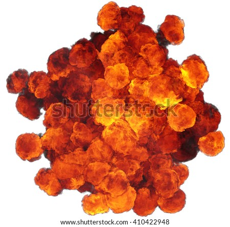 3D illustration of explosion fire cloud - stock photo