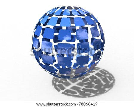 3d illustration of facet of sky all around the planet earth on white blackground