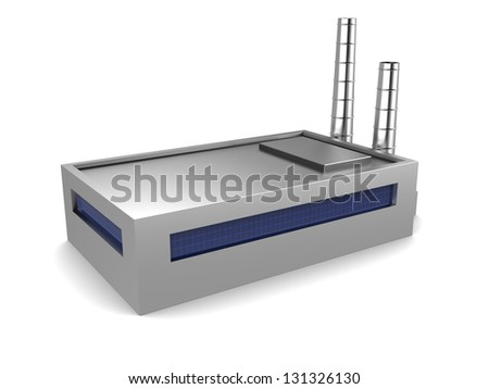 3d illustration of factory building, over white background - stock photo
