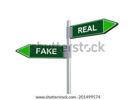 3d illustration of fake and real road sign.  - stock photo