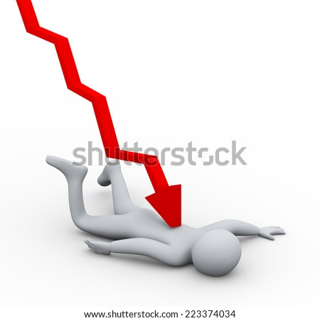 3d illustration of falling man hit by downword graph arrow. Concept of financial crisis and working in pressure. .  3d rendering of human people character. - stock photo