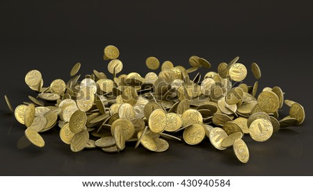 3D illustration of Falling Russian Ruble Coins on dark background