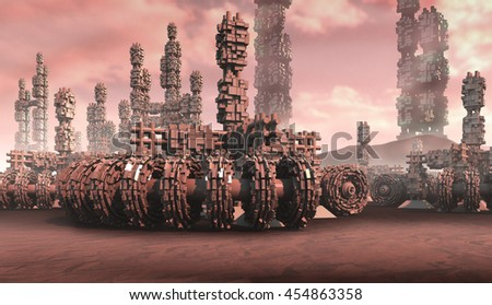 3D illustration of fantasy transports and architecture on an arid deserted planet with block structures on wheels, pods and crates for planetary exploration or science fiction backgrounds - stock photo