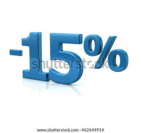 3d illustration of  fifteen percent discount in blue letters on white background
