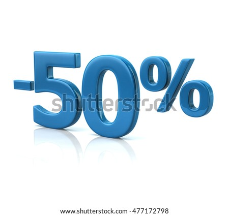 3d illustration of fifty percent discount in blue letters on white background