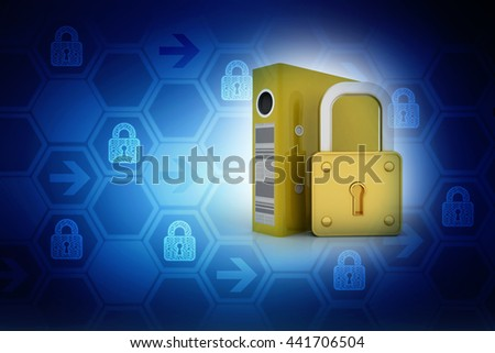 3d illustration of files locked - stock photo