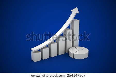 3d illustration of financial chart isolated on blue background