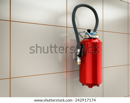 3d illustration of fire extinguisher on the wall
