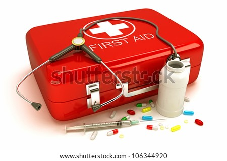 3d illustration of first aid box with capsule and stethoscope - stock photo
