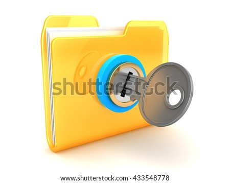 3d illustration of folder closed with key