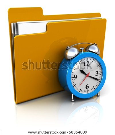 3d illustration of folder icon with alarm clock, over white background