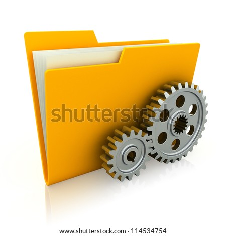 3d illustration of folder icon with gear wheel - stock photo