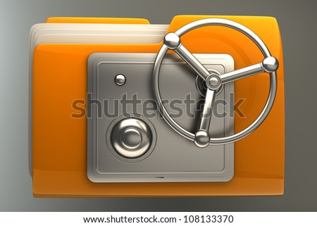3d illustration of folder icon with security lock dial High resolution - stock photo
