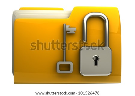 3d illustration of folder icon with security lock dial isolated on white background High resolution - stock photo