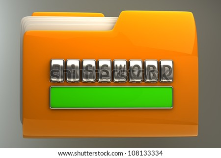 3d illustration of folder icon with security password High resolution - stock photo