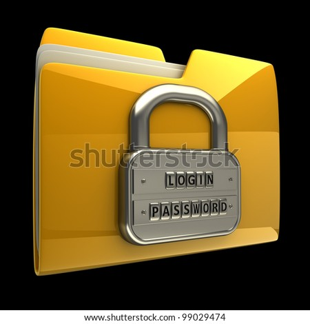 3d illustration of folder icon with security password isolated on black background High resolution 3D