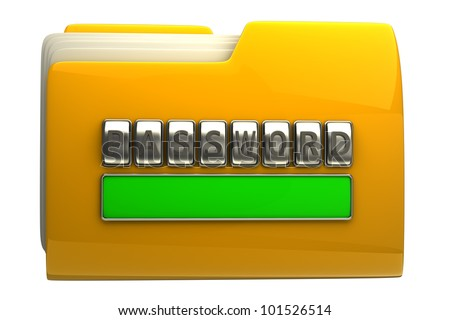 3d illustration of folder icon with security password isolated on white background High resolution - stock photo