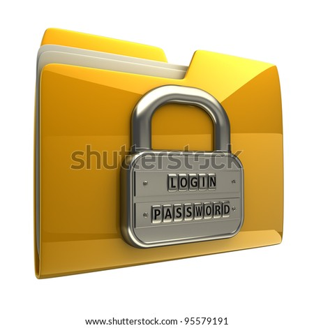 3d illustration of folder icon with security password isolated on white background High resolution 3D - stock photo