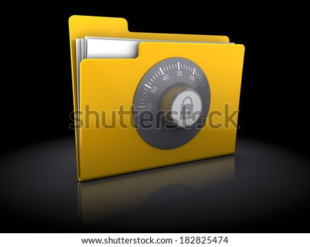 3d illustration of folder protected with code lock, over black background - stock photo