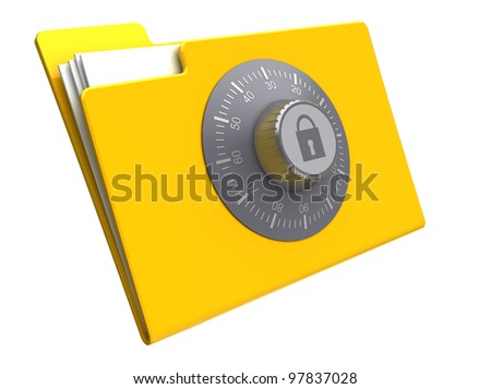 3d illustration of folder with combination lock, isolated over white background - stock photo