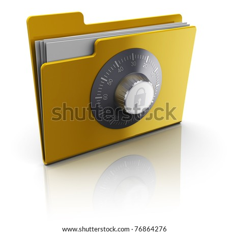 3d illustration of folder with documents protected by combination lock - stock photo