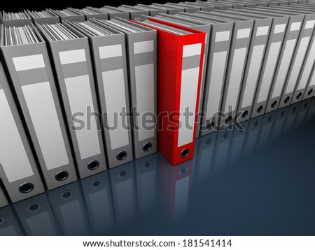 3d illustration of folders archive storage with one unique