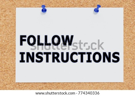 3 D Illustration Follow Instructions On Cork Ilustracin De