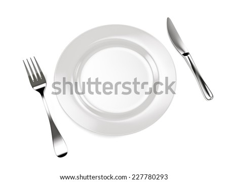 3d illustration of fork with knife and plate on white.