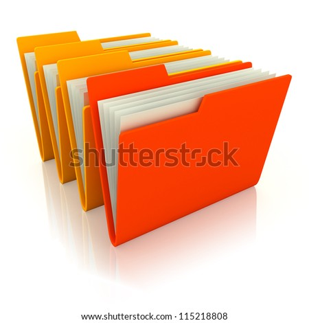 3d illustration of four folders with paper, over white background - stock photo