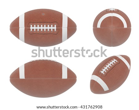 3D Illustration of  four sides of american football ball with white wireframe on white background