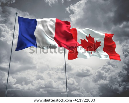 3D illustration of France & Canada Flags are waving in the sky with dark clouds