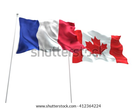 3D illustration of France & Canada Flags are waving on the isolated white background