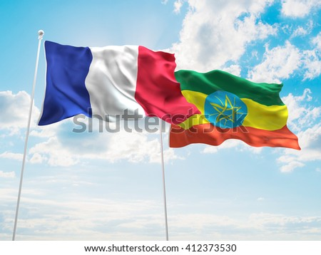 3D illustration of France & Ethiopia Flags are waving in the sky - stock photo