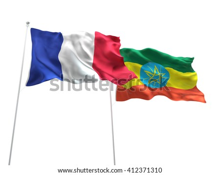 3D illustration of France & Ethiopia Flags are waving on the isolated white background - stock photo