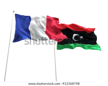 3D illustration of France & Libya Flags are waving on the isolated white background - stock photo