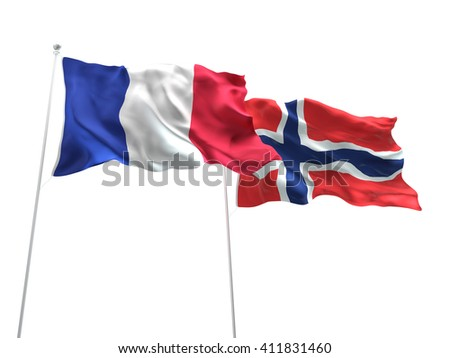 3D illustration of France & Norway Flags are waving on the isolated white background - stock photo