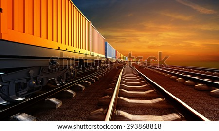 3d illustration of freight train with containers on platforms on sunset sky background - stock photo
