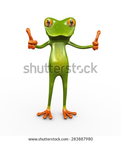 3d illustration of frog gesture posing and showing thumb up - stock photo