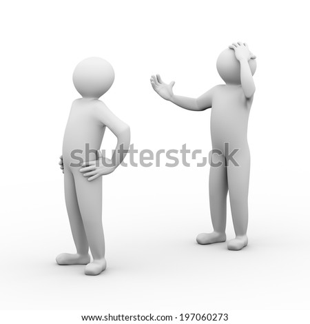 3d illustration of frustrated man arguing. Unhappy couple fight. 3d human person character and white people.
