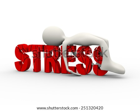 3d illustration of frustrated stressful person lying depressed on cracked word stress. 3d human person character and white people - stock photo