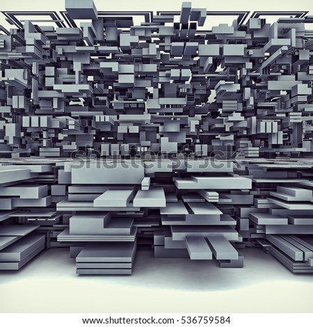 3D Illustration Of Futuristic Megalopolis City Of Boxes 38