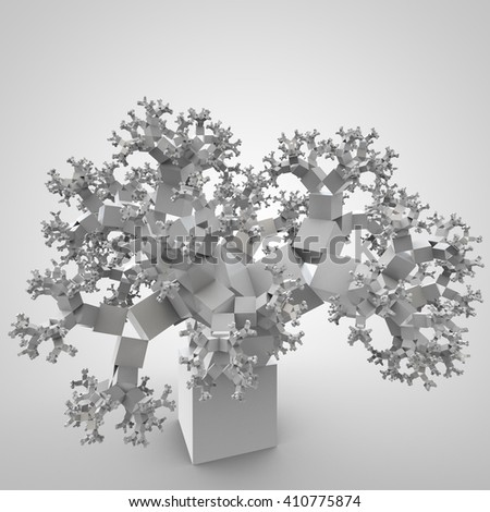 3D illustration of futuristic tree consists of cubes