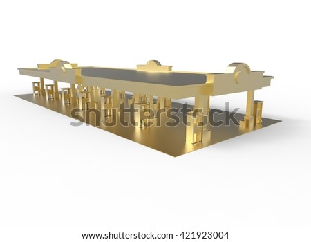 3d illustration of gas station. simple to use. on white background isolated with shadow. icon for game or web. eco building. expensive purchase. golden colors. - stock photo