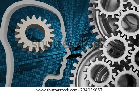 3d illustration of gear over binary background with mechanic