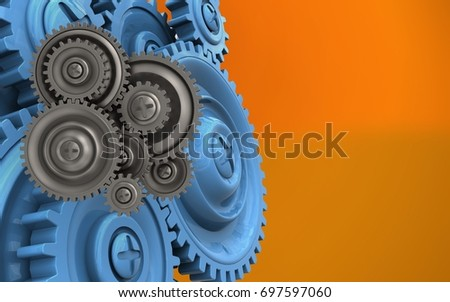 3d illustration of gear wheels over orange background with blue gears